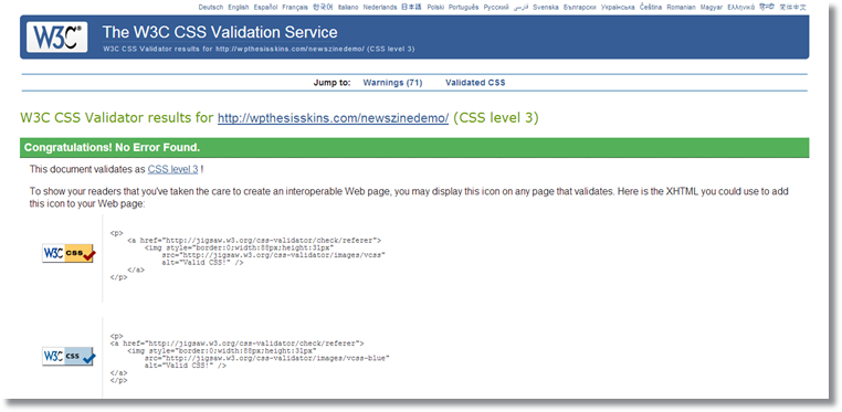 W3C CSS Validator-CSS level 3