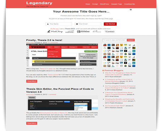 Legendary — The First Skin for Thesis 2.0
